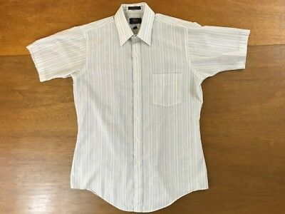 Vintage Men's Arrow Brigade Fitted Striped Button-Up Short Sleeve Shirt Size 16