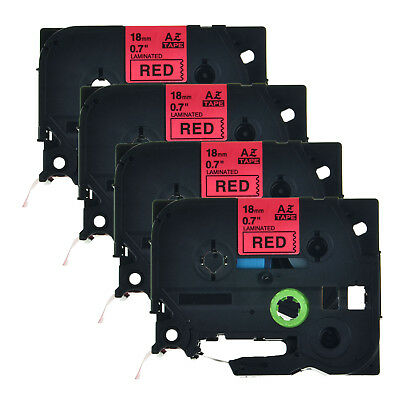 4PK 3/4'' TZ-441 Black on Red Label Tape TZe441 18mm For Brother P-touch PT-2730