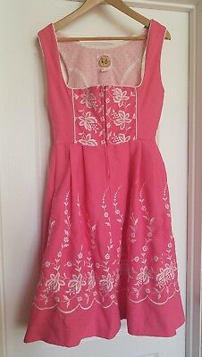 Ernst Licht Sz 12 Drindl Dress Pink German Octoberfest Beer Wench Authentic