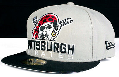 Pittsburgh Pirates Grey Old Logo 59Fifty New Era Fitted Baseball Hat Size 7  3 8 9861eb6675b8