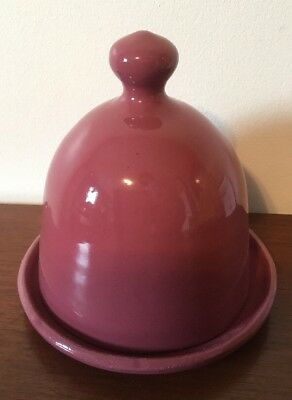 Kentucky BYBEE Pottery Pink Cheese Plate Dish w/ Covered Lid