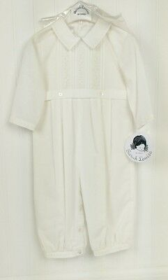 Baby Boys Christening Baptism Romper Outfit Solid White One Piece Matching Hat