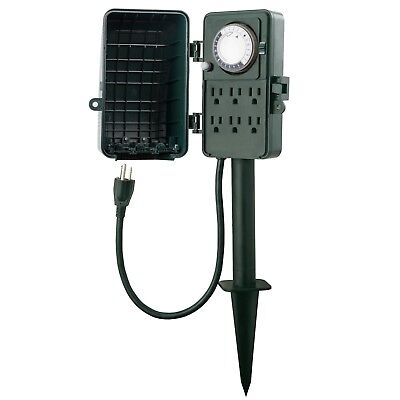 Century Outdoor Mechanical Timer Multi Outlets Yad Garden Power Stake Waterproof