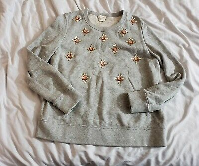 52d98144379 Kate Spade Women s Embellished Sweatshirt Pullover Grey 100% Cotton Size  Small