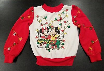 Vintage Mickey Minnie Mouse Kids Medium Sz 5-6 Holiday Christmas Ugly Sweater C2