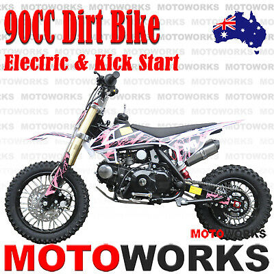 MOTOWORKS 90CC DIRT TRAIL PIT MOTOR 2 wheels Electric Start Semi Auto BIKE BLUE