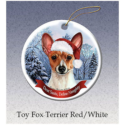 Toy Fox Terrier Howliday Porcelain China Dog Christmas Ornament