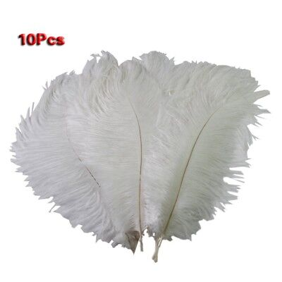 10 × New Style Artificial 10-12 Inch Ostrich Feathers Great Decorations Wh T2J4