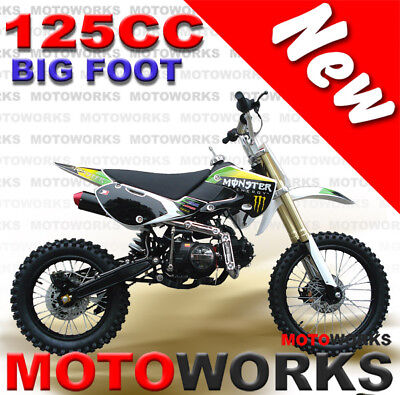 MOTOWORKS 125cc BIGFOOT DIRT TRAIL PIT MOTOR 2 WHEELS PRO BIKE Kick start WHITE