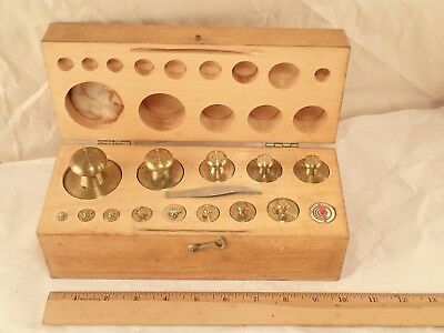 Vintage Complete Set of Brass Weights for Scientific Balance or Scale with Case