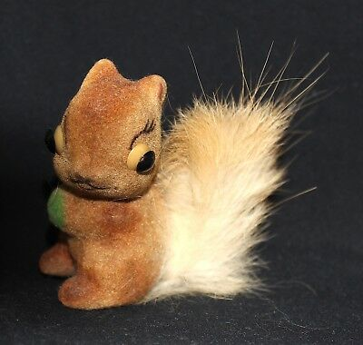 Vintage Miniature Flocked Squirrel with Real Fur Souvenir