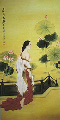 """Chinese scroll painting """"Sexy Lady""""  and lotus 美女与莲花"""