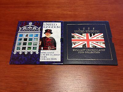 1994 & 1995 United Kingdom Brilliant UNC Coin Collections (2 sets, 8 coins each)