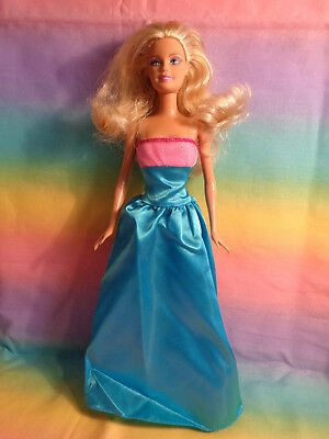 Mattel Blonde Hair Barbie Doll Blue Eyes Aqua and Pink Gown - no shoes - as is