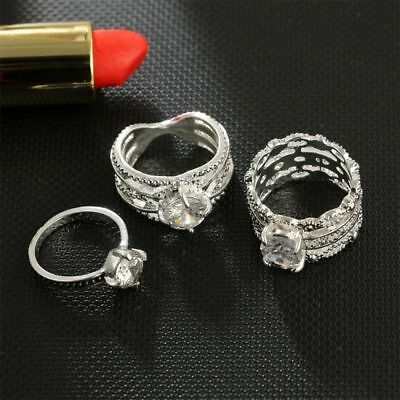 Line Wedding Inlaid Ancient Crown Retro Leaf Rings Set Jewelry Crystal Silver