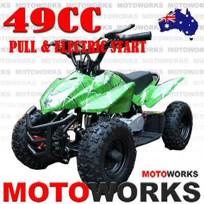 49CC ELECTRIC START SPORTS ATV QUAD Pocket Dirt Bike mini 4 Wheeler kids GREEN