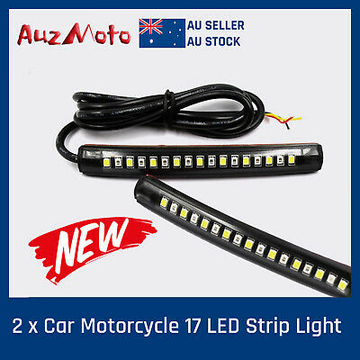 Pair of Bendable 17 LED Strip Tail Light Runing Turn Signal Indicator Motorcycle