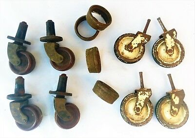 8 x Antique Vintage Caster Wheels & Brass Collars. Industrial Furniture Style