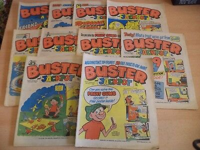 LOT OF 10 OLD VINTAGE BUSTER BRITISH COMIC MAGAZINE 1980S july - oct 1982