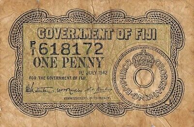 Fiji  1 Penny  1.7.1942  Series  P/1  Circulated Banknote SP518