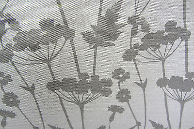 Meadow  Linen Grey/beige Floral Curtain/upholstery/Craft Fabric