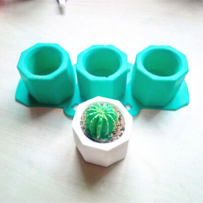Silicone Cactus Flower Pot Mold Ceramic Clay Craft Casting Concrete Cup Mould AU
