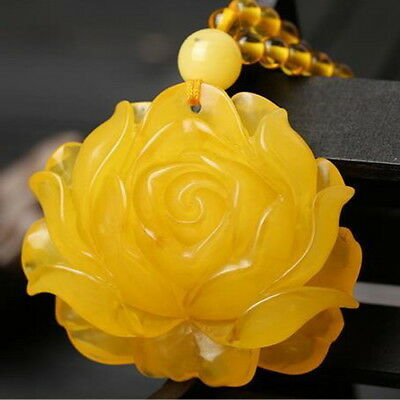 55mm Chicken Oil Yellow Amber Pendant Bead Necklace Peony Flower Sweater Chain