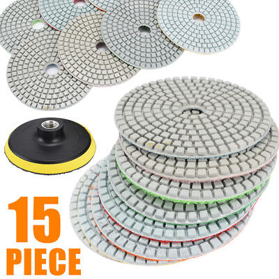 15 Piece Diamond Polishing Pads 4 inch Wet/Dry Set Granite Stone Concrete Marble