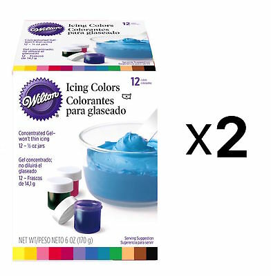 Wilton 1/2-Ounce Certified-Kosher Icing Frosting Food Colors Set Of 12 2-Pack