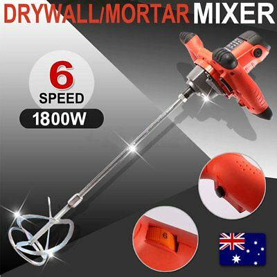 Drywall Mortar Mixer 1800W Plaster Cement Tile Adhesive Render Paint Six-speed Q