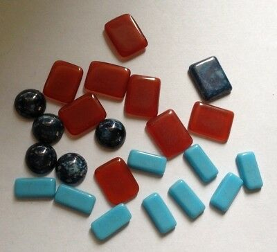 Job Lot - 23 Mixed Mottled Blue, Turquoise and Carnelian Cabochons