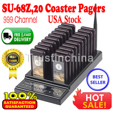 999Ch Restaurant Wireless Paging System 20 Call Guest Coaster Pager 433.92MHz US