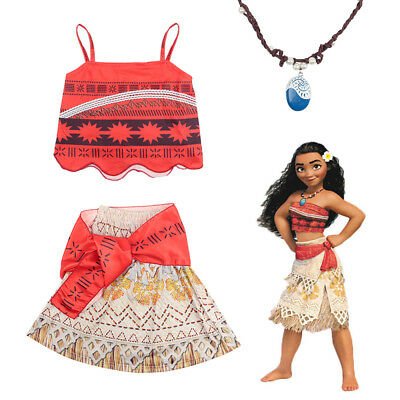 UK 3-10Y Moana Costume Hawaiian Princess Fancy Cosplay Dress & Necklace  Outfit