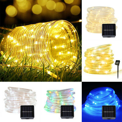 12M 100LED Waterproof Solar Power String Fairy Light Rope Tube Garden Lamp New