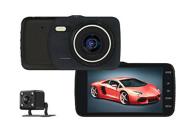 "New Dash Cam Dual Camera Reversing Recorder Car DVR 170° Real FHD 1080P 4"" LCD"