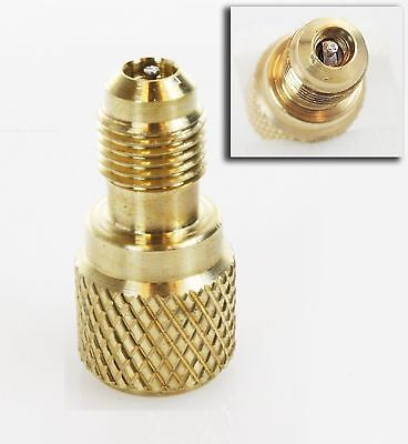 """ACME AC R134a Brass Adapter Freon Fitting 1/4"""" Male to 1/2"""" Female w/ valve c..."""