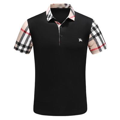 New  Men's  Brand Lattice pattern Short Sleeve Embroidered Design Polo T-shirt