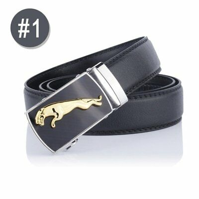 Mens Business Belt Leather Automatic Buckle Waist Strap Ratchet Waistband