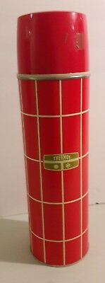 "Vintage Thermos King Seeley Red & White Plaid Vacuum Bottle 13.5"" Tall"