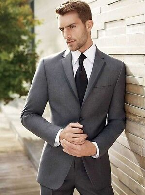MEN\'S GREY SUIT Groom Tuxedos Classic Slim Dinner Party Prom Wedding ...