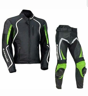 Kawasaki New Motorcycle Leather Racing Suit Ce Approved All Sizes