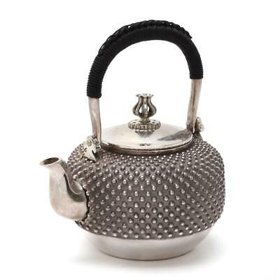 New! Sterling Silver Japanese Hobnail Teapot Braided Handle Ginbin Sencha 600ml