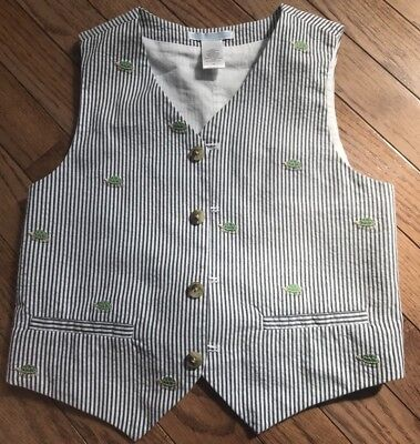 Janie And Jack Boys Vest With Turtles, Size 6