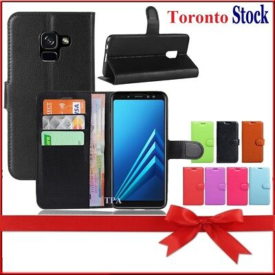 For Samsung Galaxy A8 2018 Wallet Leather Flip PU Shockproof Case Cover
