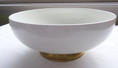 Vintage White Bowl Ceramic Heavy with Brass Stand Made in USA