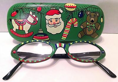 HAND PAINTED CHRISTMAS EYE GLASS HOLDER W/ Glasses green Santa Bear Cane Tree