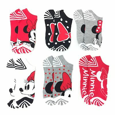 6 Pair White Minnie Mouse Ankle Length Socks Size 9/11