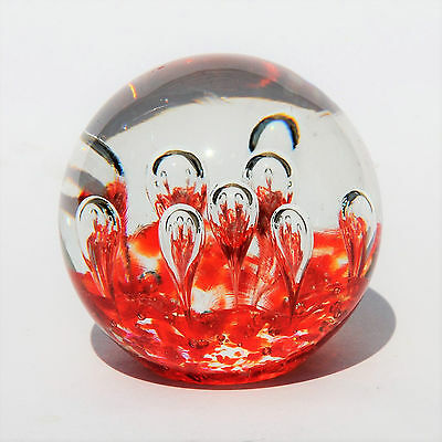 Art Glass Paperweight - Bubbles & Orange Fragments