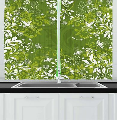 """Green Kitchen Curtains 2 Panel Home Window Drapes 55"""" X 39"""" Ambesonne"""