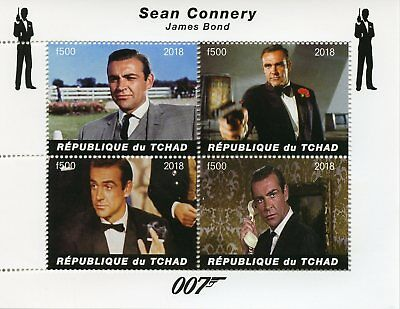 Chad 2018 CTO James Bond Sean Connery 007 4v M/S Movies Film Stamps